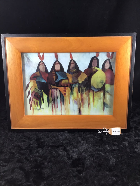 Five Indians Watercolor Print - Framed