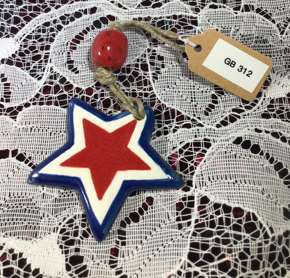 Red, White and Blue Star (Christmas Ornament (or) Fan Pull) (Fired Clay)