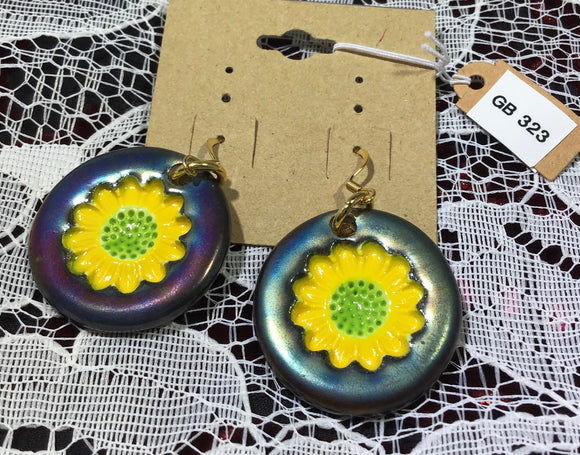 Fired Clay Raku Earrings with Bright Yellow Sunflower Imprints