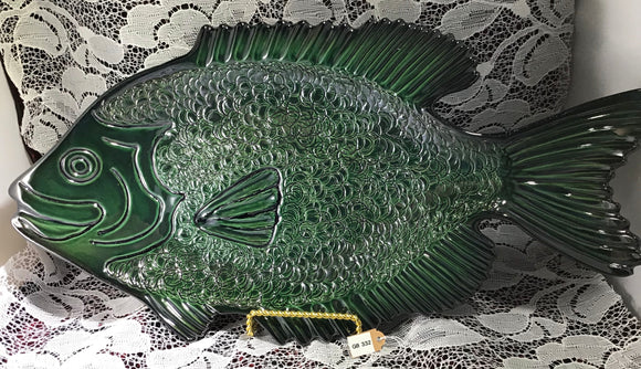 Fired Clay Medium/Large Green Fish Platter