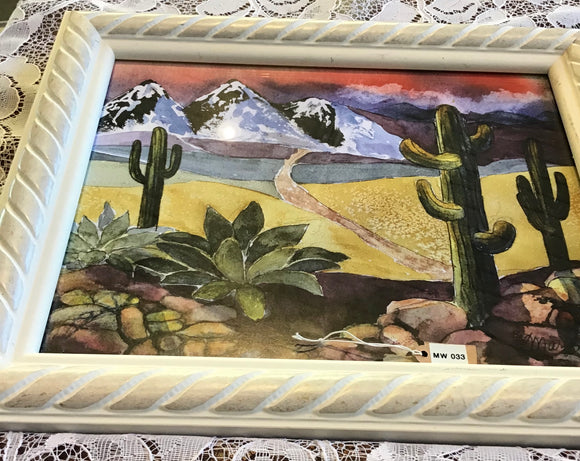 Beautiful Mountain Scene with Cactus - Framed
