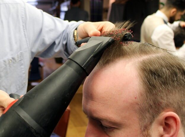 blow dry and style men's hair