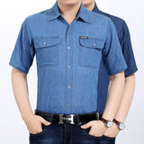 Jeans Styled Blue Short Sleeve Button Up Shirt