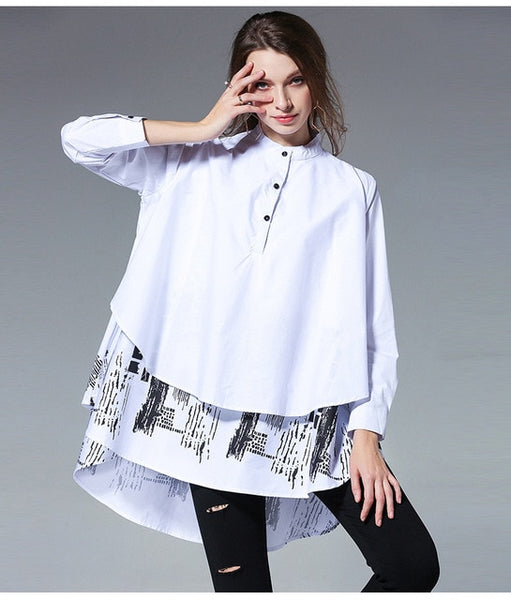 Spliced Shirt Long Sleeve