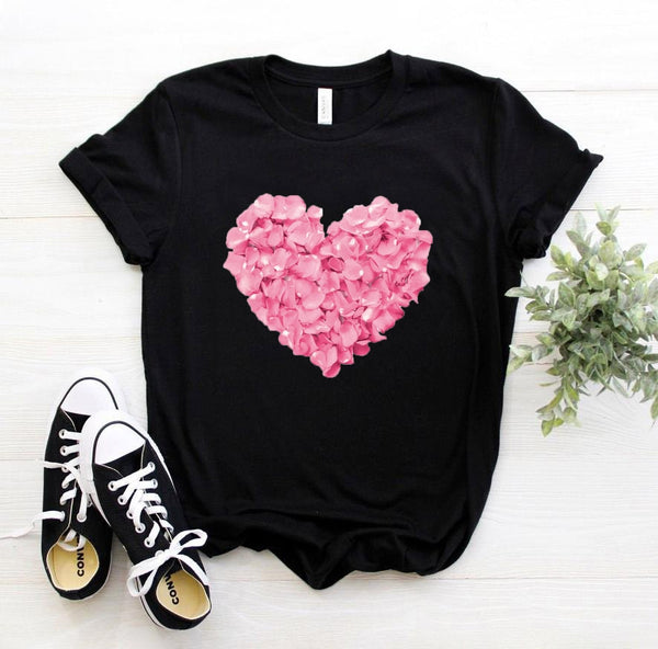 Flower Heart Print T-shirt
