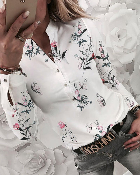Floral V-neck Printed Shirt