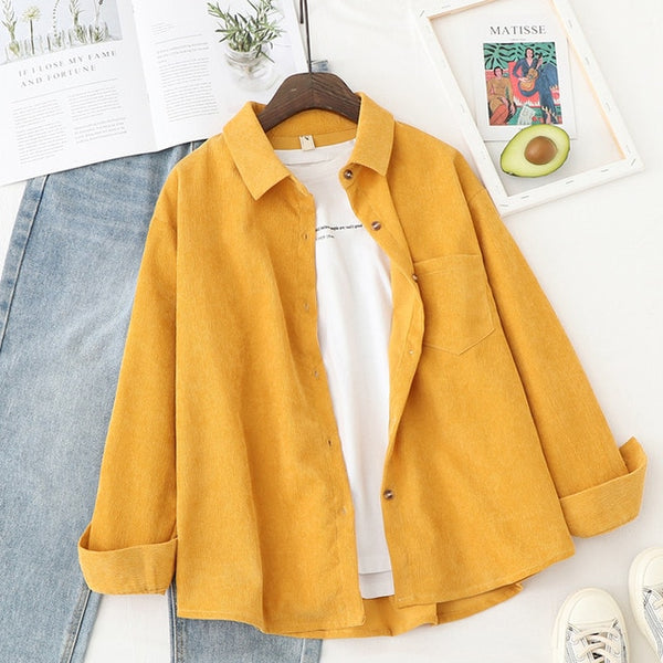 Long Sleeve Corduroy Blouse