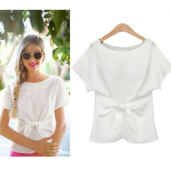 Naiveroo Blouses Short Sleeve O-neck Front Bow Tie
