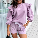 Casual Ruffled Sweatshirt
