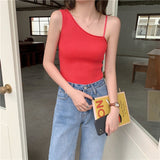 Irregular Off-shoulder Knitted Cropped Tank Tops
