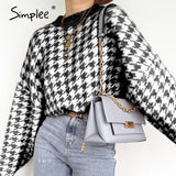 Geometric Knitted Sweater Houndstooth