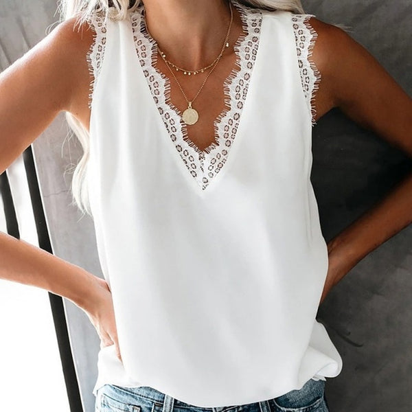 Eyelash Lace Vest Bottoming T-shirt