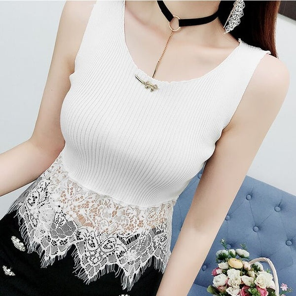 Fashion Knitting Patchwork Lace Cropped Tanks Tops