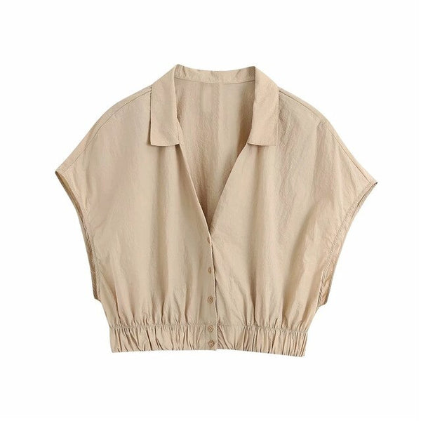 Khaki sleeveless short blouse