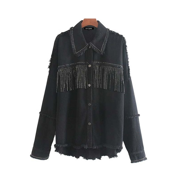 Tassel Beaded Denim Jacket