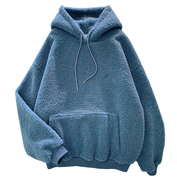 New Solid Blue Pullover Hoodie