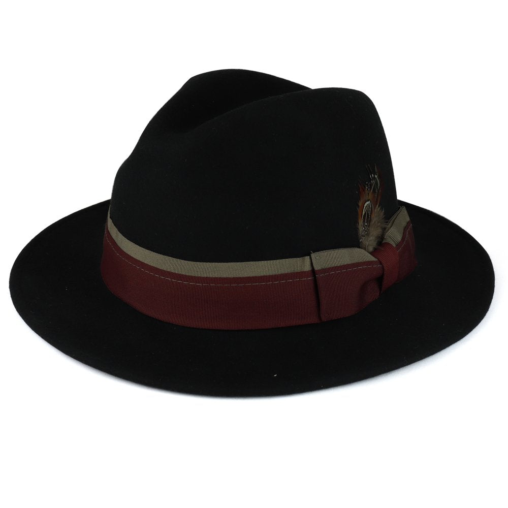 22d369a30 XXL Big Size Wool Felt Hat with Feathered Dual Color Hat Band