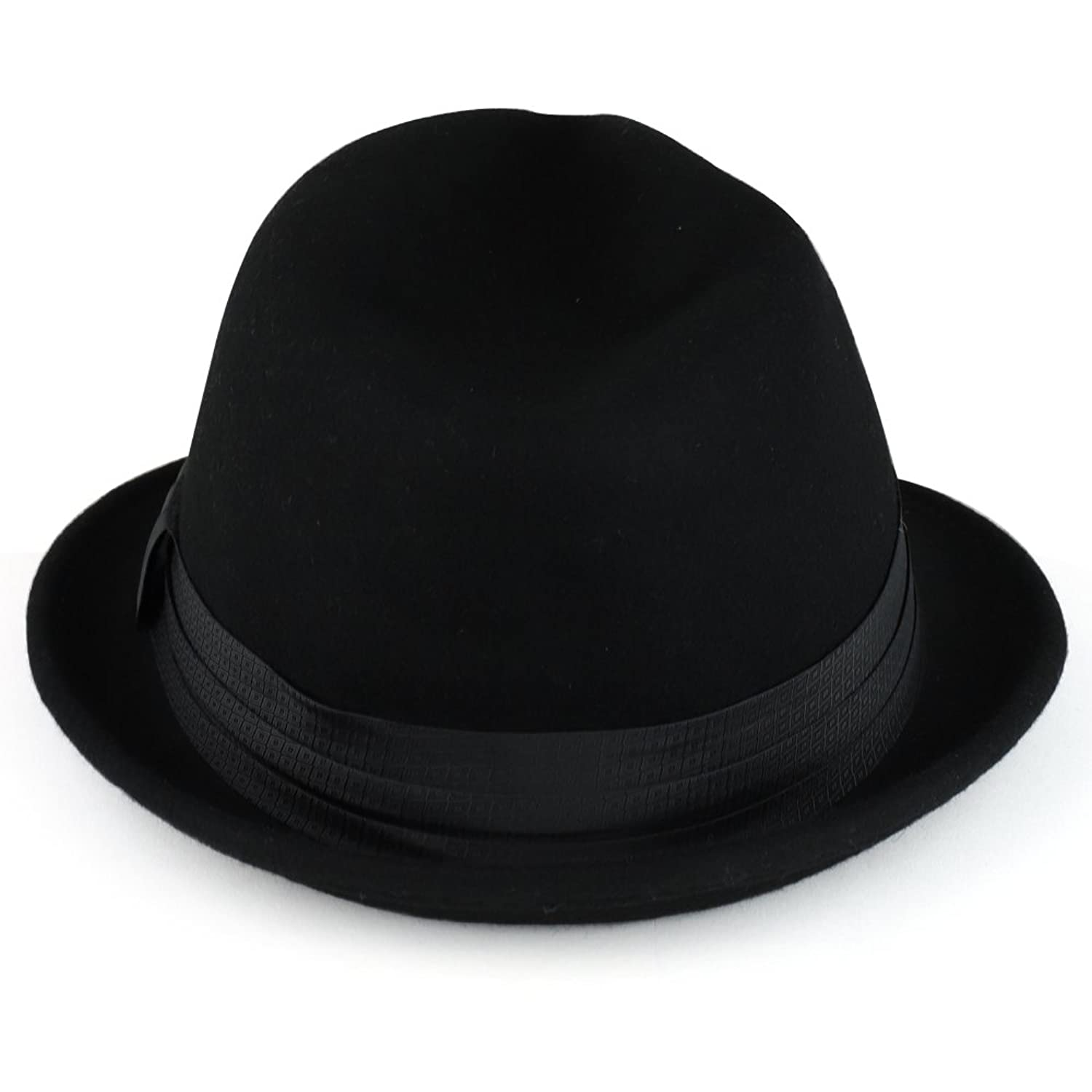 XXL Big Size Wool Felt 2 Inch Brim Trilby Fedora Hat with Satin Hat Band bc03da00b26