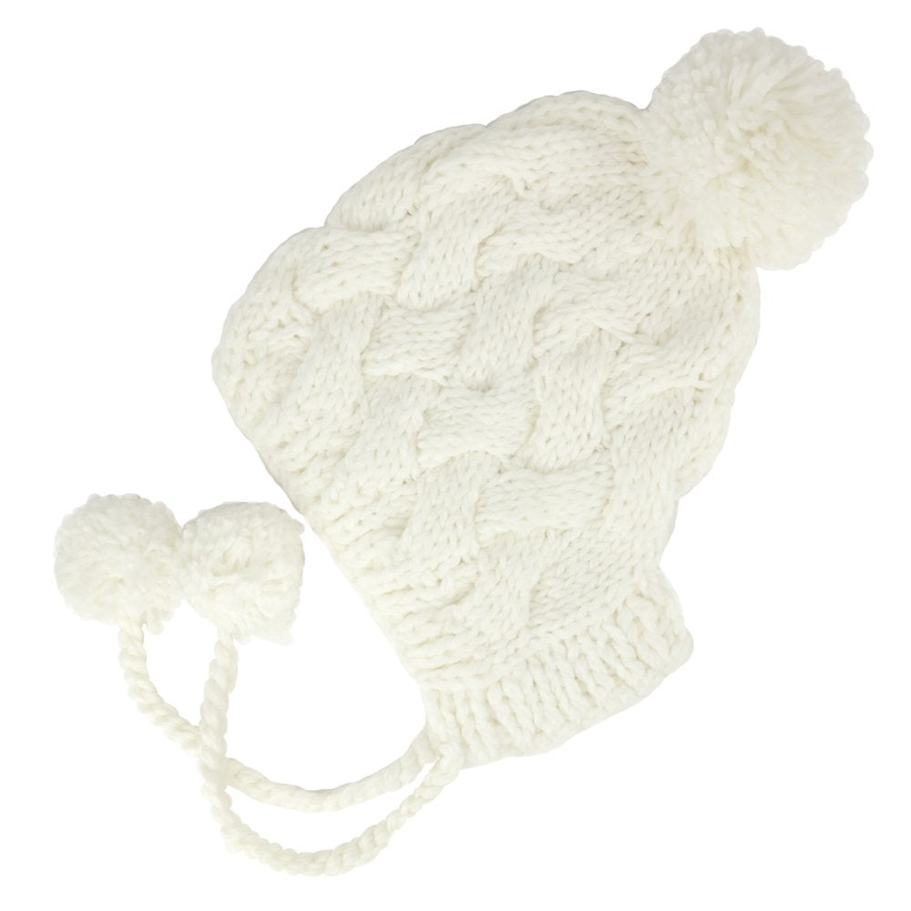 7fe701de0 Chunky Knitted Warm Pom Pom Ear Flap Beanie Hat