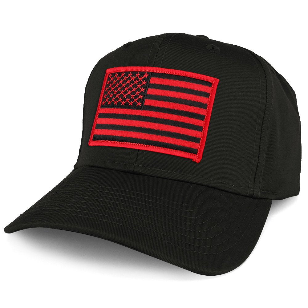Armycrew XXL Oversize Black Red USA American Flag Patch Solid Baseball Cap 32d65d9666e