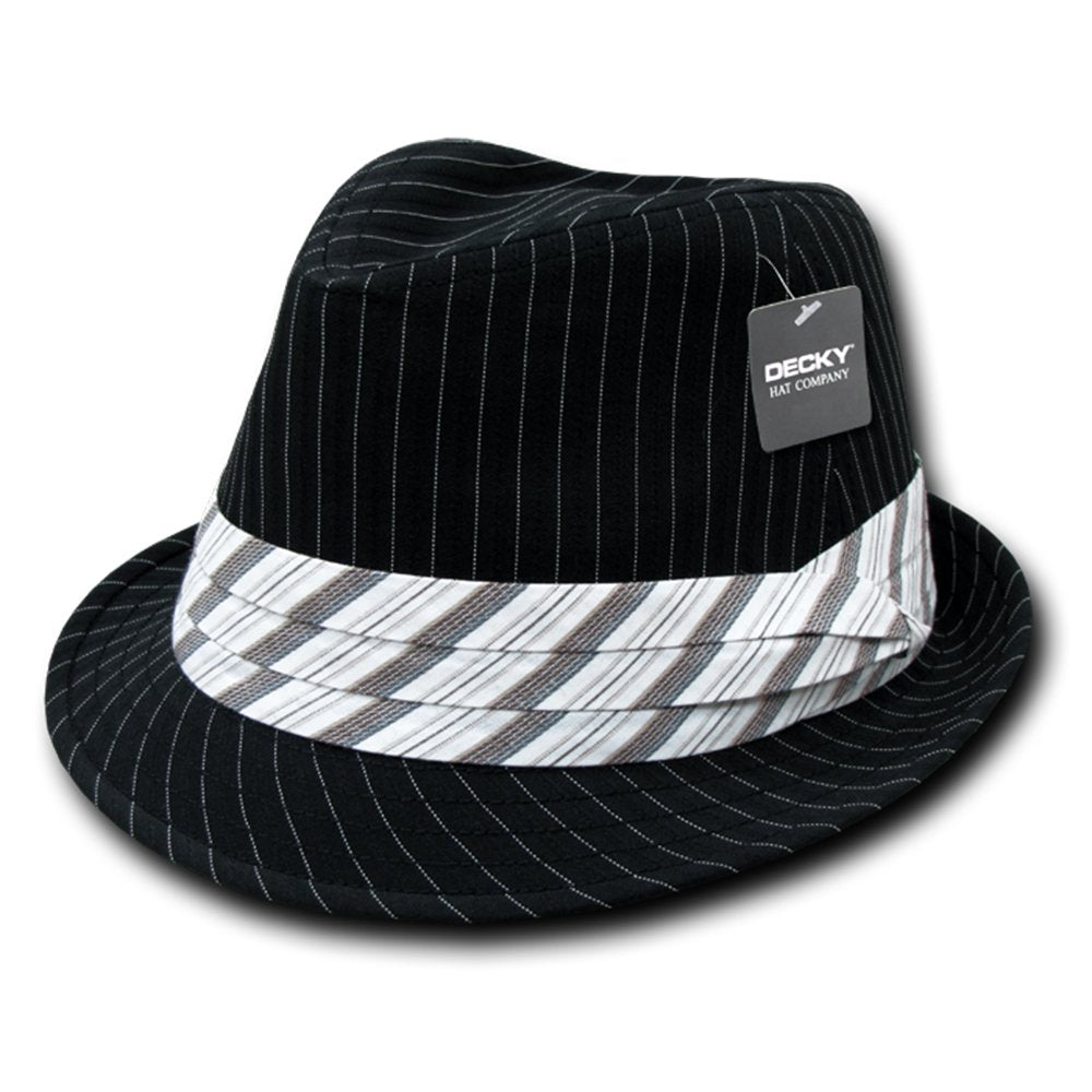 7f6c90785b Classic Poly Woven Pinstripe Fedora Hat with Hat Bands - Armycrew.com
