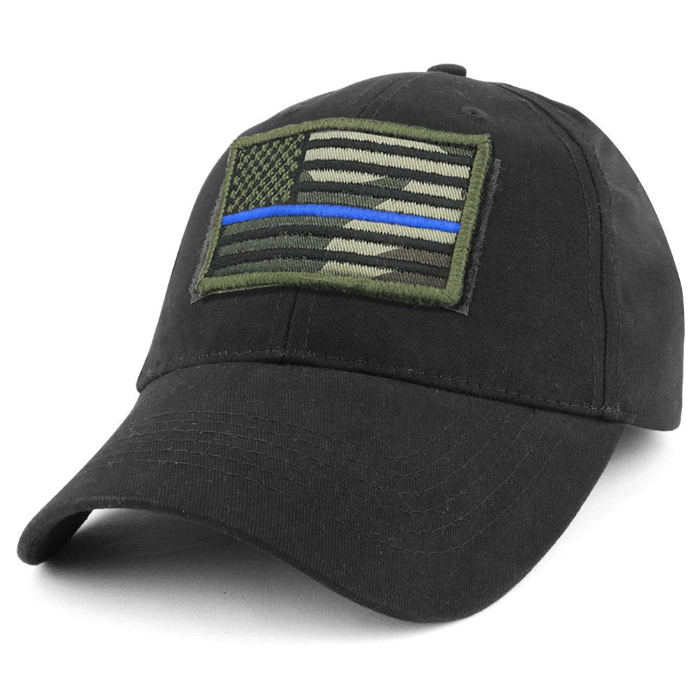 b88156a8fd843 Armycrew USA Camo Thin Blue Flag Tactical Patch Cotton Adjustable Base -  Armycrew.com