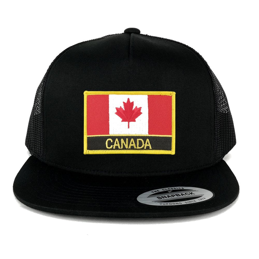 b6bad3bbc3d33d Armycrew Flexfit 5 Panel Canada Flag with Text Embroidered Patch Snapback  Mesh Trucker Cap