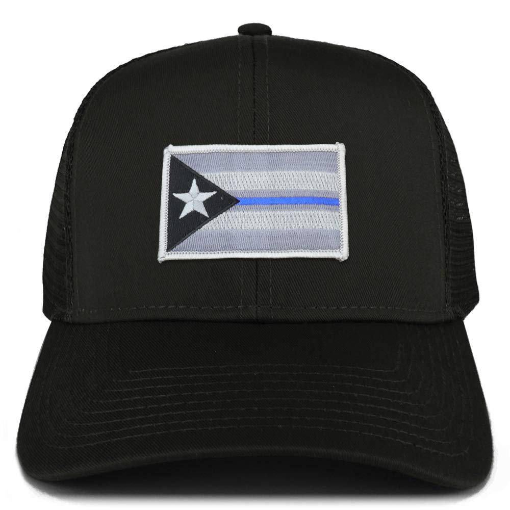 c962e9f4a Armycrew Puerto Rico Thin Blue Line Flag Patch Structured Mesh Trucker Cap