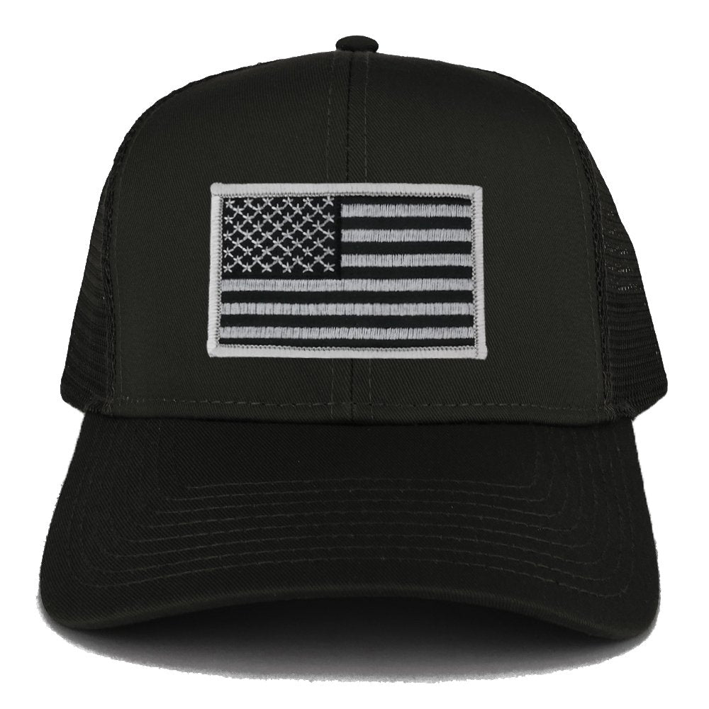 9bcd12f4bde52 Armycrew USA American Flag Embroidered Patch Snapback Mesh Trucker Cap -  Black