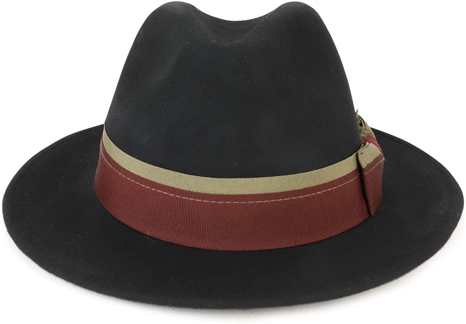 Broner Mens Down-Turned Brim Fedora with Dual Color Layered Hatband