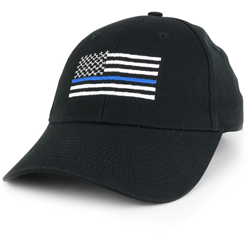 a9d289206c5c7 Armycrew Law Enforcement Support Thin Blue Line Flag Embroidered Cap