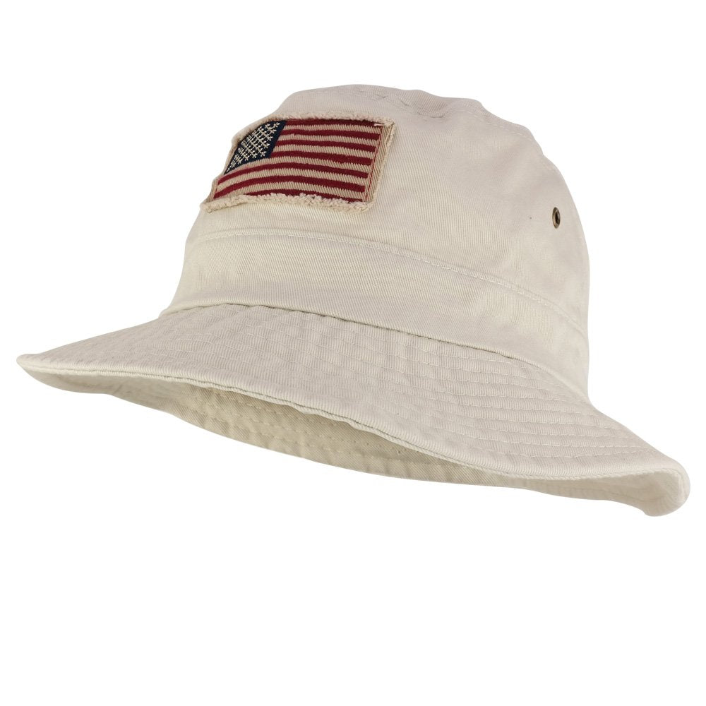 100562645eab44 Frayed USA Flag Washed Style Twill Cotton Bucket Hat - Armycrew.com