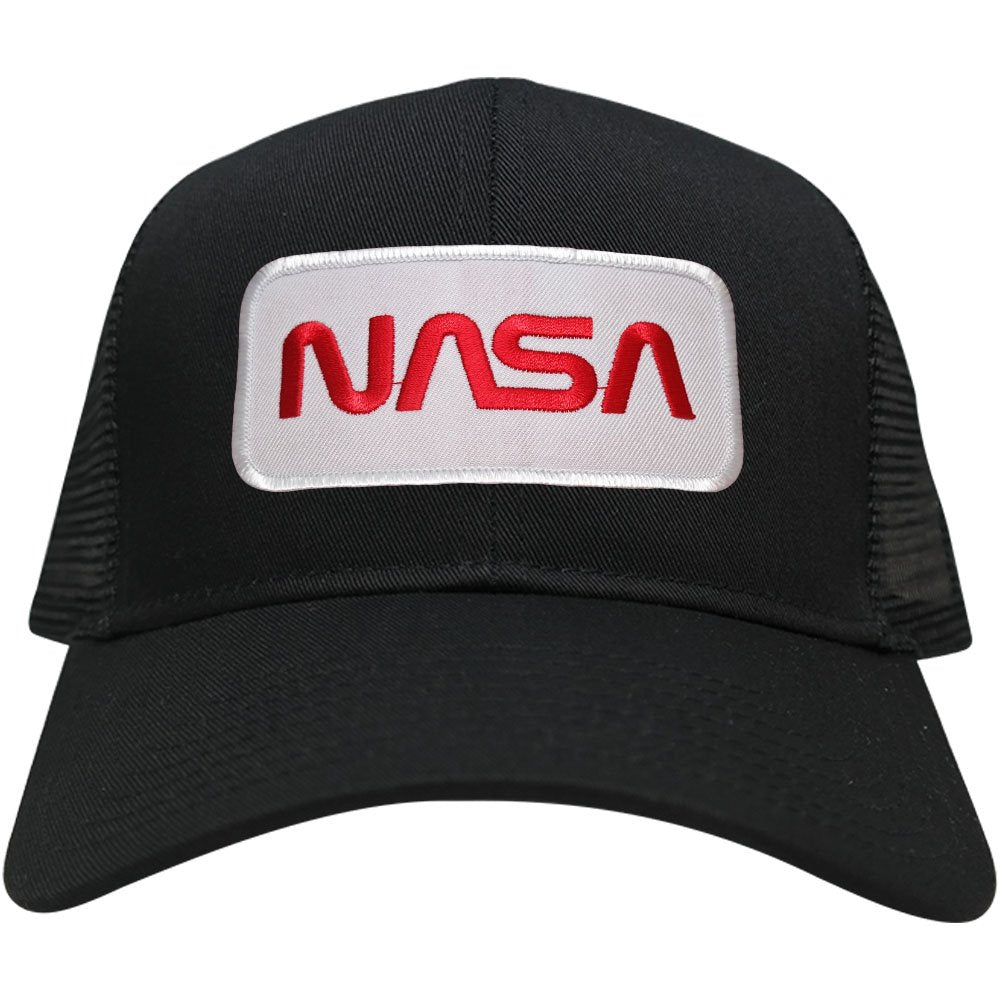 8db9d9977e4 NASA Worm Red Text Embroidered Iron On Patch Snapback Trucker Mesh Cap