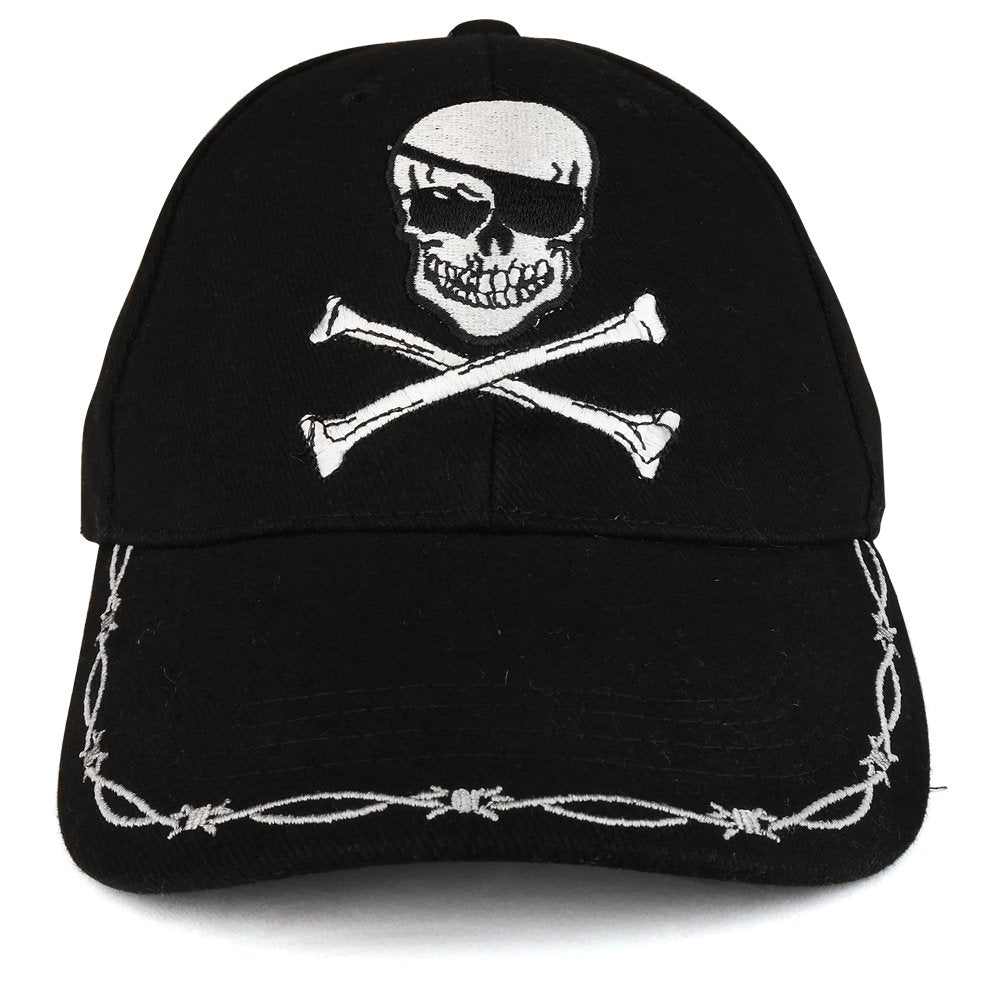 Pirate Skull Crossbone Barbwire Embroidered Structured Army Baseball C -  Armycrew.com 4cdc84a77179