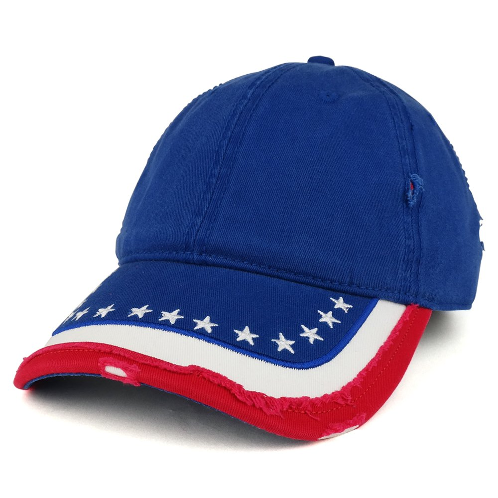 US Flag Pattern Distressed Cotton Low Profile Baseball Cap - Armycrew.com 563b6dc7fd2