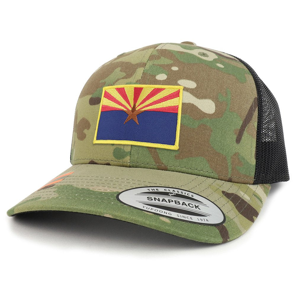 1a3e22687c6e Armycrew Arizona State Flag Patch Camouflage Structured Trucker Mesh  Baseball Cap