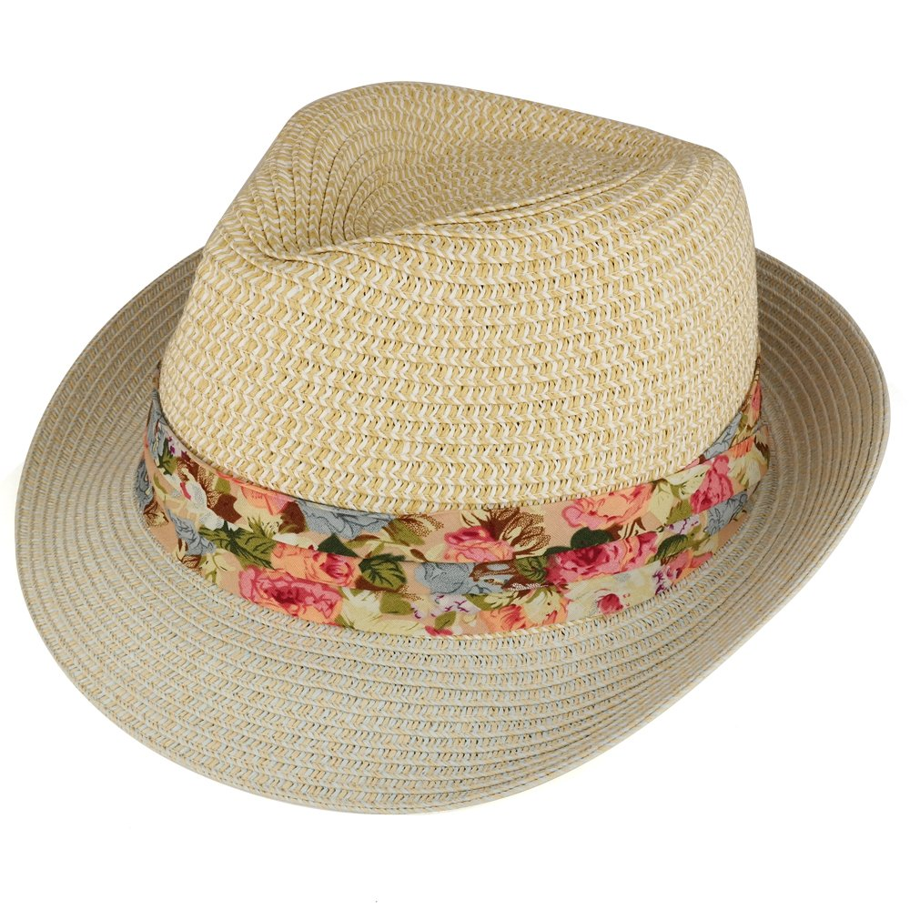 5ce5b4231e8 Ladies Two Tone Paper Straw Fedora Hat with Floral Print Hatband ...