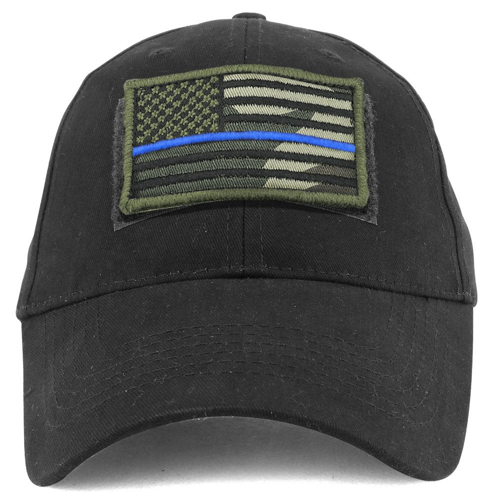 cc3f87389cc00 Armycrew USA Camo Thin Blue Flag Tactical Patch Cotton Adjustable Baseball  Cap