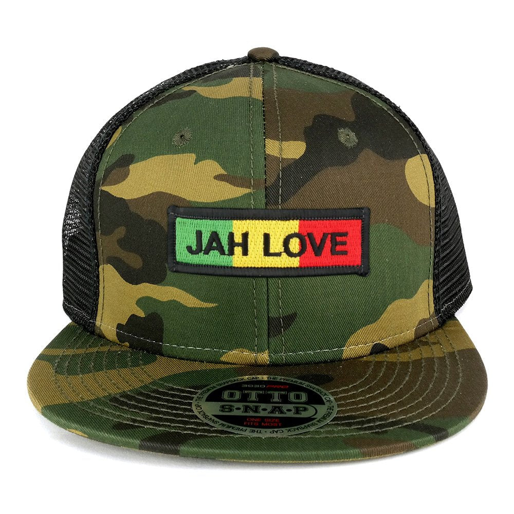 a5523962a53 Jah Love Green Yellow Red Embroidered Patch Camo Flat Bill Snapback Me -  Armycrew.com