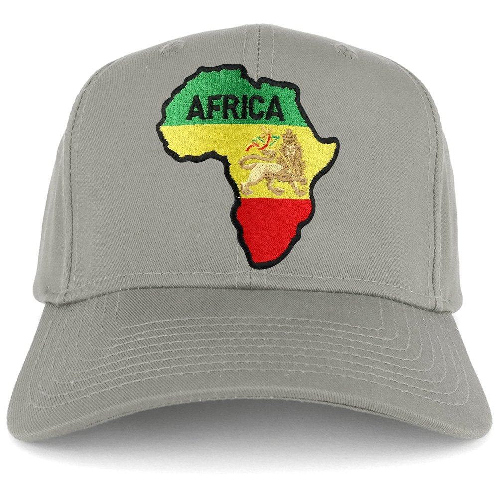 9d58122b03598 RGY Africa Map and Rasta Lion Embroidered Iron on Patch Adjustable Baseball  Cap