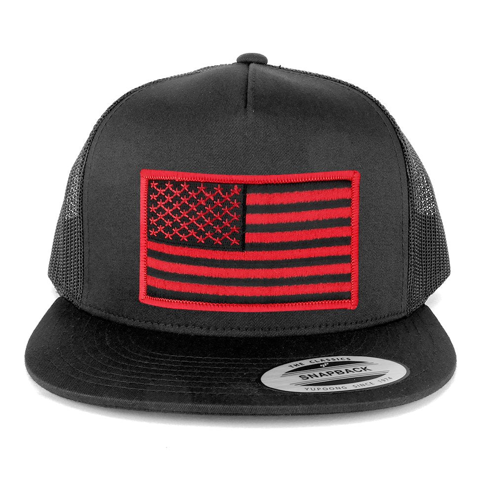 bee965b8933b66 Armycrew Flexfit 5 Panel American Flag Patched Snapback Mesh Charcoal Cap