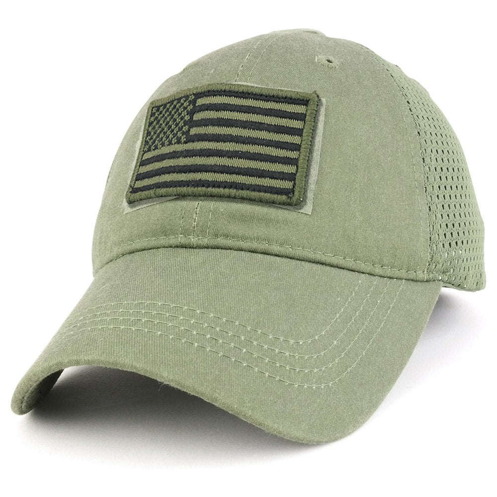 Armycrew USA Olive Flag Tactical Patch Cotton Adjustable Trucker Cap ... 6f7a4648cf8