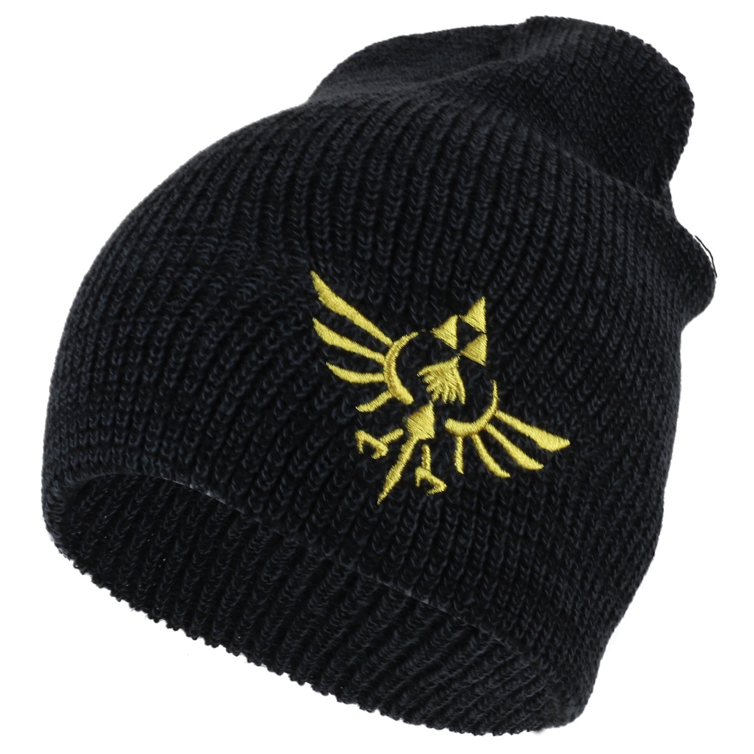 3c307656297 Armycrew Zelda Metallic Gold Tri Force Logo Embroidered Ribbed Knit Beanie
