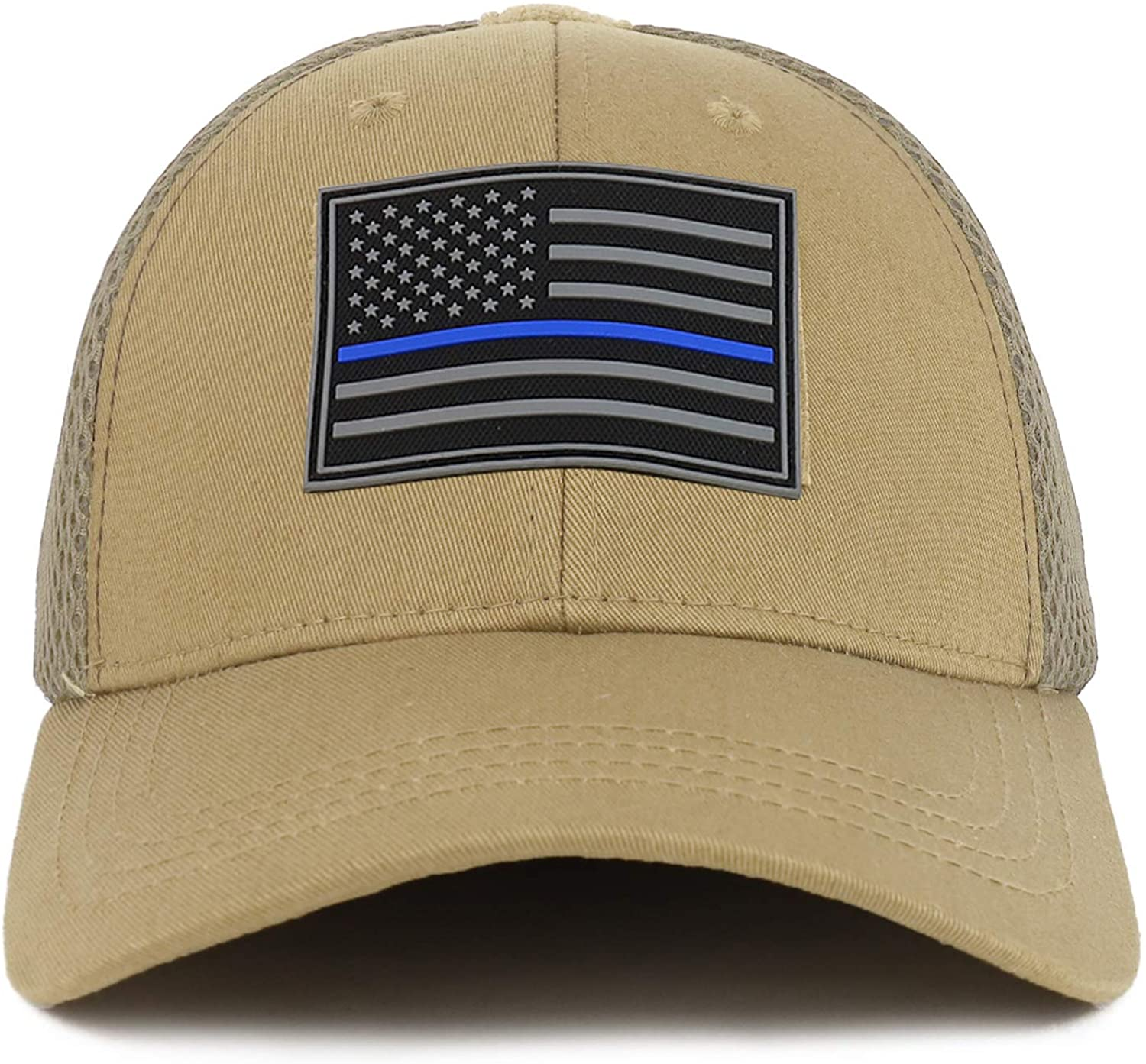 Armycrew American Flag Black Tactical Embroidered Patch Air Mesh Flex Cap