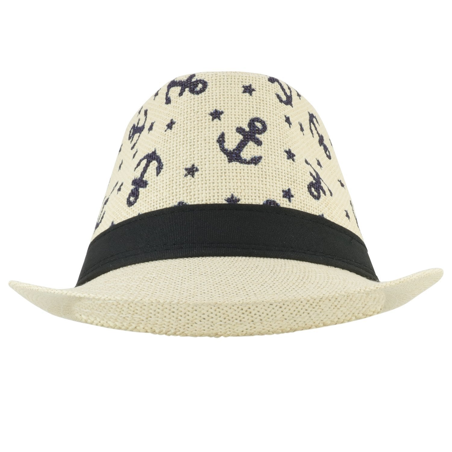 1178b1086 Armycrew Anchors and Stars Printed Summer Paper Straw Fedora Hat