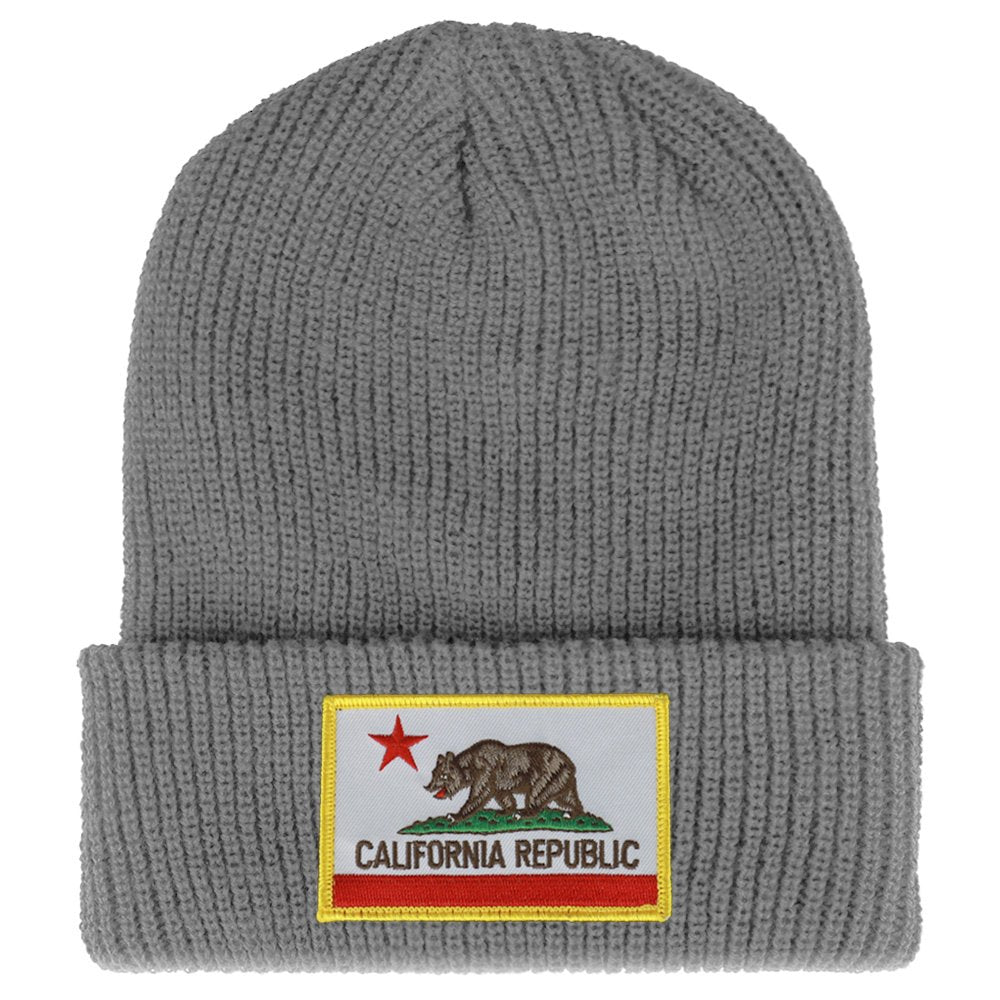 62b348aef9a California Bear Flag Embroidered Patch Winter Ribbed Cuffed Knit Beanie