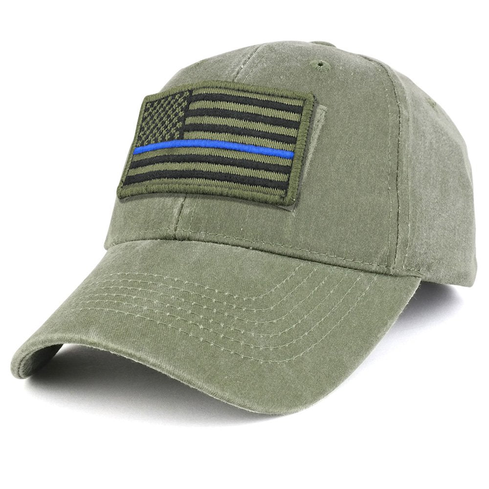 Armycrew USA Olive Thin Blue Flag Tactical Patch Cotton Adjustable Baseball  Cap 5df82dbdf14