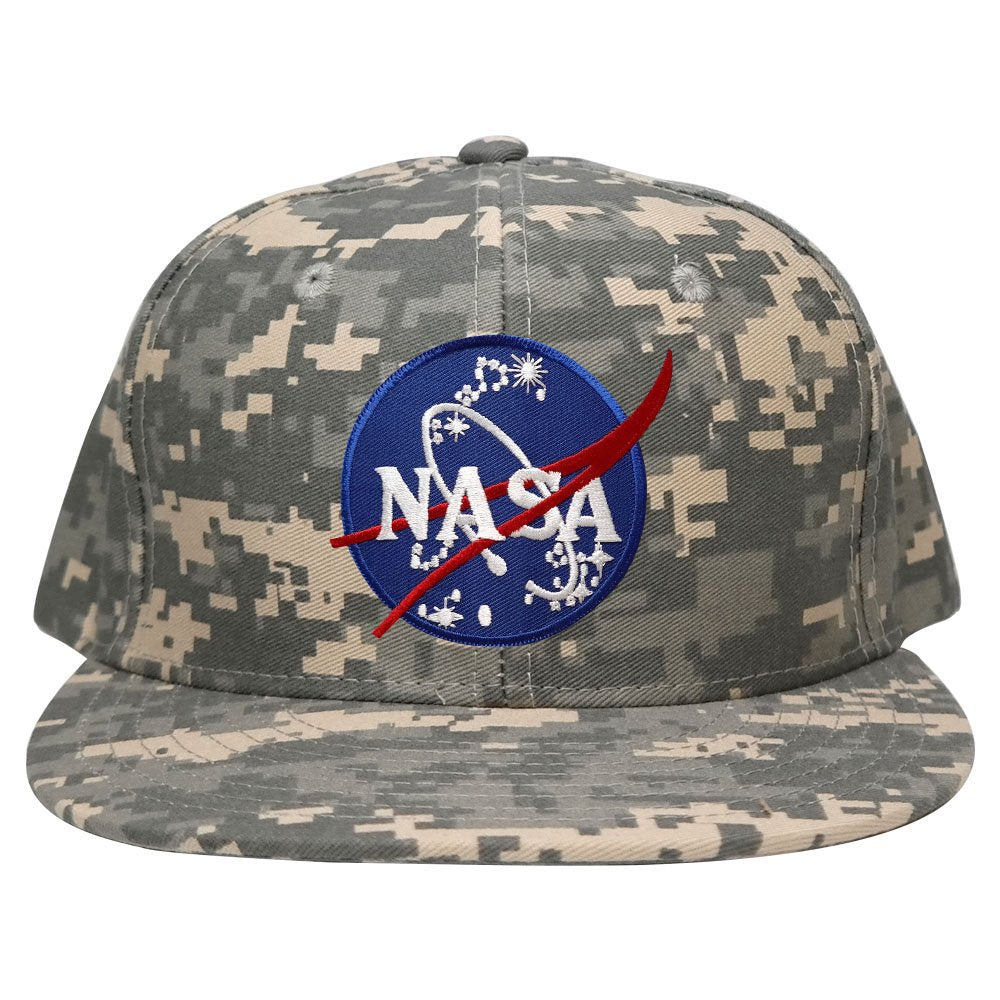 670a7920df2a0 Flat Bill NASA Insignia Space Logo Embroidered Iron On Patch Camo Snap -  Armycrew.com