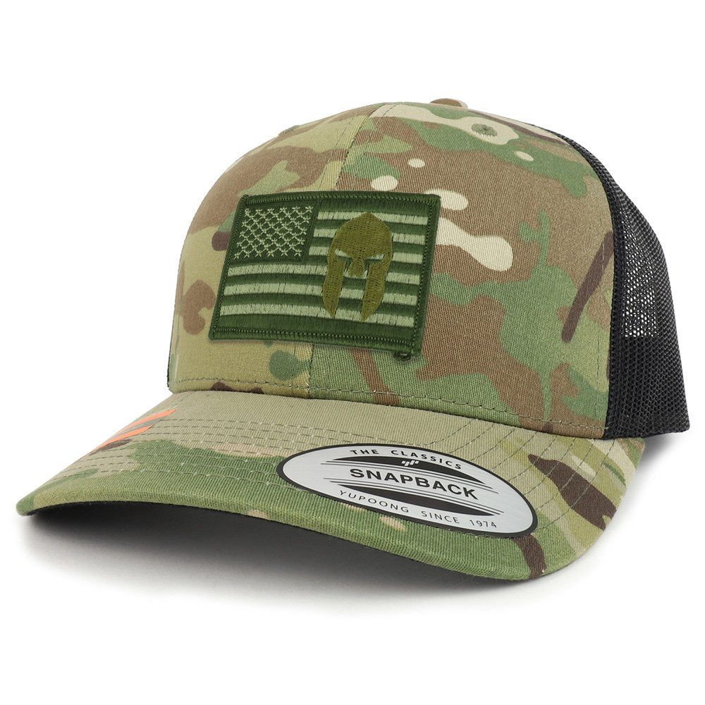 Armycrew Olive USA Flag Spartan Patch Camouflage Structured Trucker Me -  Armycrew.com bf8d3f3160c