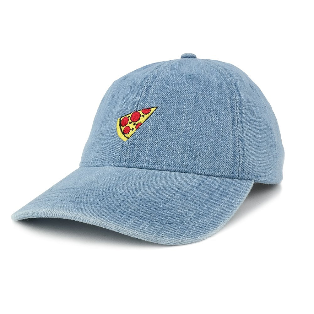 bdd9aef7b5981 Fashionable Distressed Denim Pizza Embroidered Accent Baseball Cap -  Armycrew.com